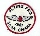 Midian Shrine Flying Fez Patch CSSA Omaha felt 4 1/8 inch Shriners