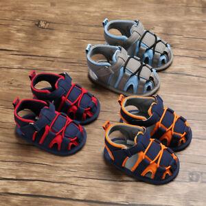 Summer Infant Newborn Baby Boy Bandage Soft Sole Prewalker Sandals Single Shoes