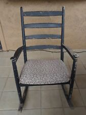 """Vintage Child Size Solid Wood Black 25"""" Rocking Chair Classic Floral accents"""