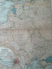 1903 Russia (Western Southern) Original Antique Map Poland Ukraine St Petersburg