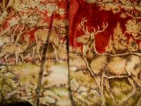 "LRG VINTAGE VELVET TAPESTRY WALL HANGING RUG W/BUCK,FAWN,DOE TABLE RUG 68""X50""G"