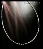 Chaîne De Cou Longue 80 cm Maille Forçat diamantée Argent Massif 925/000 Bijoux