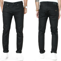 Nudie Mens Slim Skinny Fit Dry Denim Stretch Jeans Tape Ted Black Ring | W29 L32