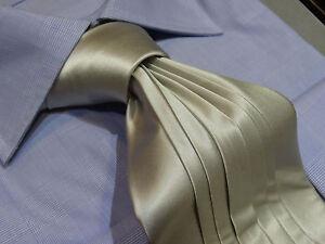 Fabio Pleated Silk Tie Necktie Silver Gray Satin solid Wedding
