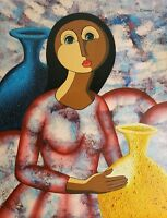 Signed Pedro Ciprian - Mona Lisa - Abstract Cubist Caribbean Art Painting