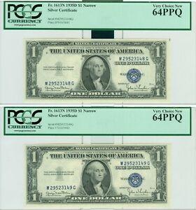 """1935-D $1 """"NARROW"""" SILVER CERT. PCGS 64PPQ VCN 2 CONSECUTIVE NOTES 1 PER ORDER"""