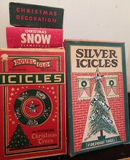 Antique / Vintage Christmas Icicles & Snow In Original Boxes