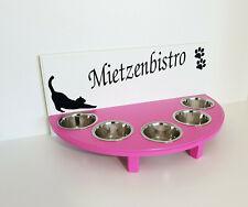 Handarbeit Katzenbar! Napfbar, Futterbar, 5 Näpfe, weiß/pink, (457rr)