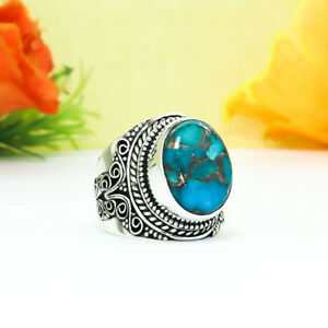 50-Cts Natural Copper Turquoise Fine Handcrafted Silver Plated Ring Size=US:6.50
