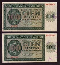 F.C.  PAREJA CORRELATIVA   100  PESETAS 1936 , SERIE A ,  EBC+ , ABARQUILLADOS .