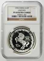 1996 China S10Y 10 Yuan 1 Oz. .999 Silver Proof Unicorn NGC PF68 Ultra Cameo
