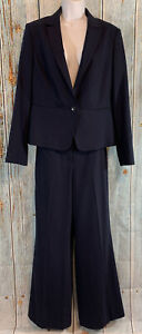 Talbots Size 8 Navy Blue All Season Career Pant Suit Blazer Jacket Lined Pants