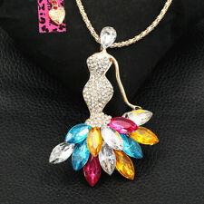 Women's Crystal Elegant Lady Pendant Sweater Chain Betsey Johnson Necklace Gift