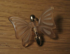 Vintage Butterfly Hat Pin Tie Tack Movable Gold Tone Avon Acrylic Peach