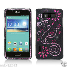 LG Splendor Venice Optimus Showtime Diamond Case Snap-On Cover Black Pink Flower