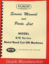 Kalamazoo 610 Metal Band Saw Service Parts Manual 0407