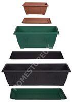 RECTANGULAR WINDOW BOX PLASTIC PLANTER POT/WATER BASE TRAY PLANT OUTSIDE GARDEN