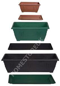 PLASTIC RECTANGULAR WINDOW BOX PLANTER POT OR WATER BASE DRIP TRAY GARDEN PLANT