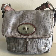 Fossil Maddox Crossbody Snake Embossed Leather Turn-lock Flap. Gray.