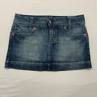 American Eagle Blue Jean Skirt Women's Size 4 Stretch Distressed Mini Skirt