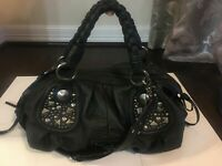 Guess by MARCIANO Black Leather satchel Shoulder Carryall Purse Bag with Studs