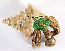 Hermit Crab Jeweled Pewter Trinket Box w/necklace Sea Life Collectible  Decor