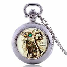 Cute Cat Watch Antique style Silver Necklace & Chain #PW17