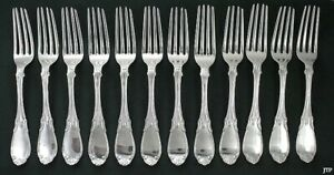 12 American Coin Silver Forks Smith & Chamberlain Mid 1800s