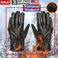 Men Women Winter Gloves Touch Screen Windproof Waterproof PU Leather Thick Snow