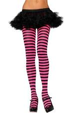 Leg Avenue 7100 Nylon Stripe Tights pink and black neon pink hot pink and black