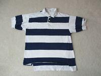 VINTAGE Nike Challenge Polo Shirt Adult Medium White Blue Striped Tennis 90s *