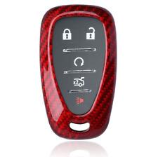 Red Real Carbon Fiber Remote Key Fob Case Shell for Chevy Camaro Malibu Cruze