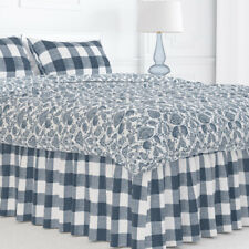 Carolina Linens Gathered Bedskirt in Anderson Italian Denim Blue Buffalo Check