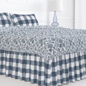 Carolina Linens Gathered Bedskirt in Anderson Italian Denim Blue Buffalo Check
