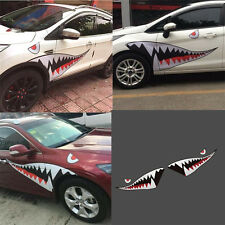 Left&Right Large Shark Mouth Teeth Car Side Sticker Door Fender Vinyl Decal 1.5m