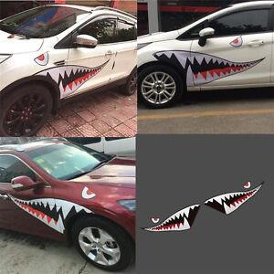 Left&Right Large Shark Mouth Teeth Car Side Sticker Door Fender Vinyl Decal 1.5m