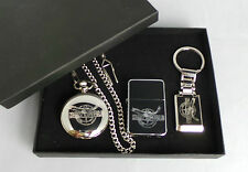 U.S Navy Seal Gift Set Silver Plated Half Hunter Watch, Keyring & Petrol Lighter