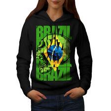 Wellcoda Brazil Flag Womens Hoodie, Country Soccer Casual Hooded Sweatshirt