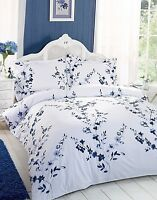 Poly Cotton Floral Henley Royal Blue duvet cover set Single