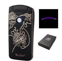 Winjet Feuerzeug Plasma schwarz Blumen mit Lichtbogen und USB Ladekabel 221004