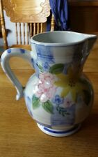 Andrea by Sadek Porcelain Pitcher, Flower Vase. Blue & White with flowers