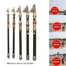 DI- Portable Carbon Fiber Ultralight Travel Telescopic Fishing Rod Sea Spin Pole
