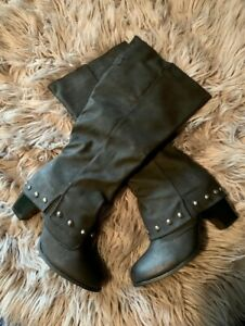 Women Knee High Riding /Motorcycle Studded Boot-Black Wide Calf-Size10