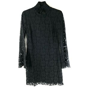 INC Shift Dress High Neck Lace Overlay Bell Sleeve Victorian Goth Black Size L