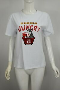Womens Girls Hungry Cat Print Top Vest Summer Casual T Shirt Pullover Top White