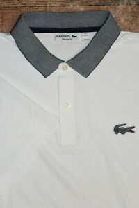 Lacoste Men Size FR 7 XXL Short Sleeve Polo Shirt White Gator Regular Fit EUC 61