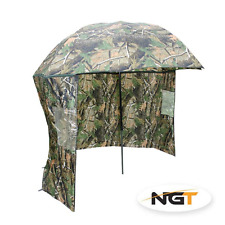 "NGT 45"" Camo Umbrella Brolly with Zip On Sides Coarse Carp Fishing Shelter"