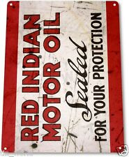 "TIN SIGN ""Red Indian Motor Oil"" Gas Metal Decor Wall Art Garage Auto Shop A880"