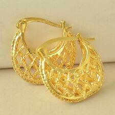 Diamond Basket Weave Hoop Earrings Ii Pretty New 9K Yellow Gold Filled