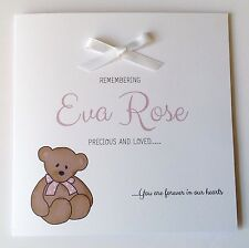Personalised Baby Girl Remembrance Card Sympathy Loss Of Baby, Child